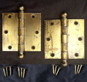 28 avail CLEAN Pair 3.5x3.5 Antique Vintage Old Brass Steel Interior Door Hinges