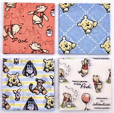 "40 Winnie The Pooh Coral & Blue Fabric Patchwork Squares Craft Pack  4"" (10cm)"