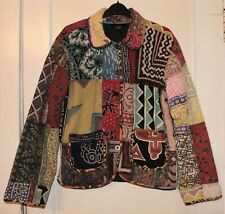 Sacred Threads Jacket S/M Color Block Boho Patchwork Button Front Elephants