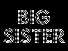"Diamonte Hotfix Relationship Transfers Rhinestones iron On Motif ""Big Sister"" s5"