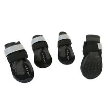 4-Pack Large Dog Boots Rain Shoes Snow Bootie Reflective Rubber Sole Black L
