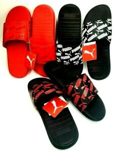 New PUMA Cool Cat Repeat  High Risk Red Logo Men's Slide Sandals Size 8-12