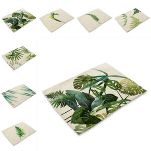 Green Leaf Plant Placemats Kitchen Mats Cotton Linen Table Pad Heat Insulation