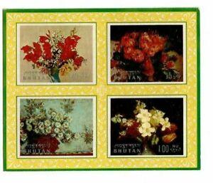 Bhutan - 1970 - Sc 114 Flower Paintings Embossed - Souvenir sheet - MNH