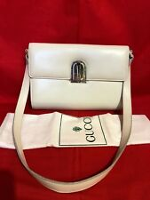100% Authentic Vtg GUCCI Off White 2 Way Shoulder Bag or Clutch Leather*Italy