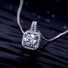 925 sterling silver stunning cubic zirconia square necklace pendant + gift bag
