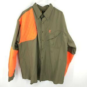 Browning Button Up Shirt Mens Extra Large Green Orange Hunt Hunting Shooting