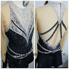 Black Ice Skating Dresses Girls Custom Figure Skating Clothes Women Competition