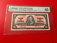 1937 CANADA, BANK OF CANADA BC-22B $2 D.GORDON G.F. TOWERS PMG 45 EXTREMELY FINE