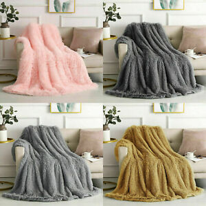 Long Pile Fluffy Teddy Faux Fur Soft & Cuddly Throws Blankets Double