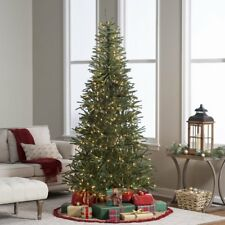 7.5 ft. Delicate Pine Slim Pre-Lit Christmas Tree, Green