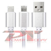 2 en 1 Micro USB Sync X datos carga cable Iphone 5/C/S/6 Android HTC Samsung