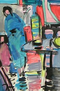 JOSE TRUJILLO ACRYLIC PAINTING ABSTRACT FAUVISM EXPRESSIONIST FIGURES INTERIOR