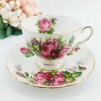 Vintage Tuscan Moss Rose Teacup & Saucer Fine Bone China Cup & Saucer England