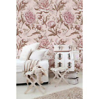 Removable wallpaper Pink Peonies Floral Wall Covering Watercolor Art Home Decor