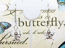 Butterfly Design Accent Earrings Rhinestone Wings Large Silver Tone Ear Loop