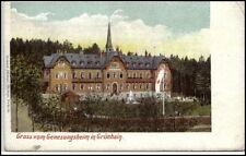 GRÜNHAIN Litho-AK um 1900 Gruss vom Genesungsheim alte Ansichtskarte Sachsen