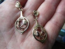 Hermosa Vintage 9ct Oro y Oro Rosa Ola Gorie Pendientes en en muy buena condición