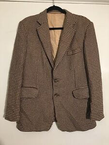 Mens Vintage Tweed Jacket By Henry Ballantyne Wool Brown Herringbone Size 102cm