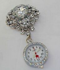 Beautiful White Brooch Fob Watch with Diamante Beads