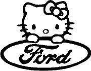 HELLO KITTY Ford - DIE CUT VINYL STICKER DECAL.