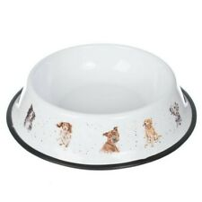 Wrendale Designs Large Tin Dog Bowl 29.5cm Metal Dish Cute Pet Stainless Steel