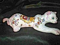 ancienne bouquetière art-déco zoomorphique en vieux rouen-chat-yeux en sulfure