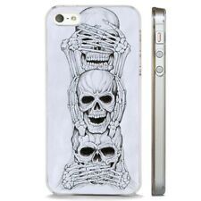 See Hear Speak No Evil Skull CLEAR PHONE CASE COVER fits iPHONE 5 6 7 8 X
