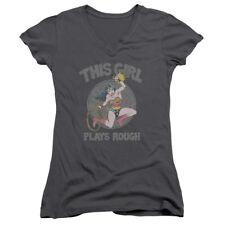 DC Comics Wonder Woman Plays Rough Junior V-Neck T-Shirt Tee