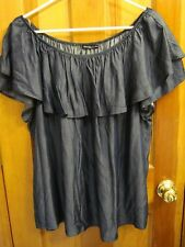 NWT CHA CHA VENTE sz XL Indigo Blue Off Shoulder Ruffle Top Made in USA