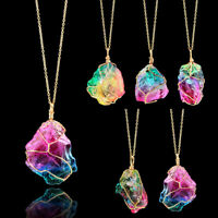 Natural Stone Rainbow Crystal Chakra Rock Chain Quartz Pendant Necklace Jewelry