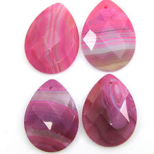 30x40mm faceted pink agate flat teardrop pendant bead 1pc