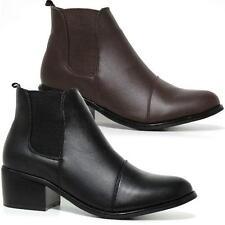 Ladies Womens Ankle Chunky Block Heels Formal Dealer Biker Chelsea Boots Shoes