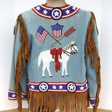 Hairston Roberson Ropa Beaded Western Denim Womens Jacket Medium Horse Flag Coat