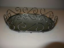 Mirrored Oval Vanity Perfume Tray Silver Tone Scroll Design