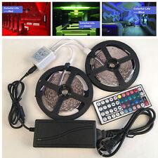 10M 5050 RGB LED Strip Light 12v Power Supply Adapter 44Key IR Remote Controller