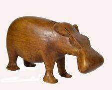 African Hippopotamus Carved Wood Figurine Statue Hippo Sculpture Jungle Safari
