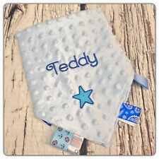 Personalised Baby Comforter Taggy Square Blanket Pink Blue Boys Girls