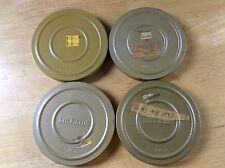 """Vintage Set of 4 SUPER 8 - 5"""" DUAL 8 CAN CANISTER WITH REELS - J M Fields Kenco"""