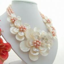 Stunning!Pink Pearl&White Shell Flower Necklace