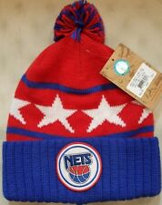 New Jersey Nets NBA Mitchell and Ness Pom Vintage Cuffed Knit Hat Beanie