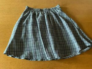 Women's grey check lined short skirt, size S
