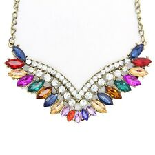 New Full Crystal Bridal V Shaped Rhinestone Wedding Necklace Statement Collar