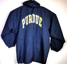 Vtg PURDUE BOILERMAKERS Hooded Quilt Lined NCAA Sideline Rain Jacket LARGE EUC