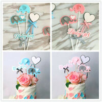Baby Personalised Elephant Cake Toppers Happy Birthday Party Pastry Decoration
