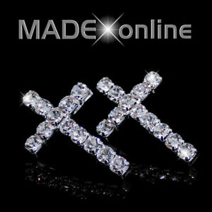 Cross Earrings, Single line Diamante, Silver Plated Bling