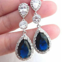 Luxury 925 Silver Blue Sapphire Wedding Engagement Drop Dangle Earrings Jewelry