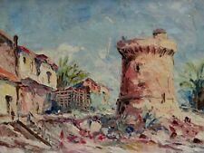 Ancien tableau huile paysage de Provence orientaliste peinture au couteau monogr