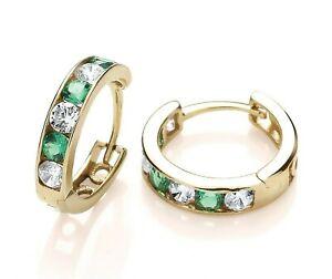 9ct Yellow Gold Emerald Huggie Hoop Earrings - Solid 9K Gold