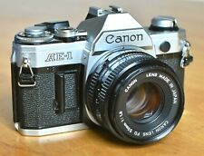 Canon AE-1 SLR Camera with 50mm f1.8 FD Lens & Flash - Excellent